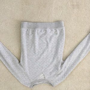 White and Gray dot Sweater With Triangle cut Out